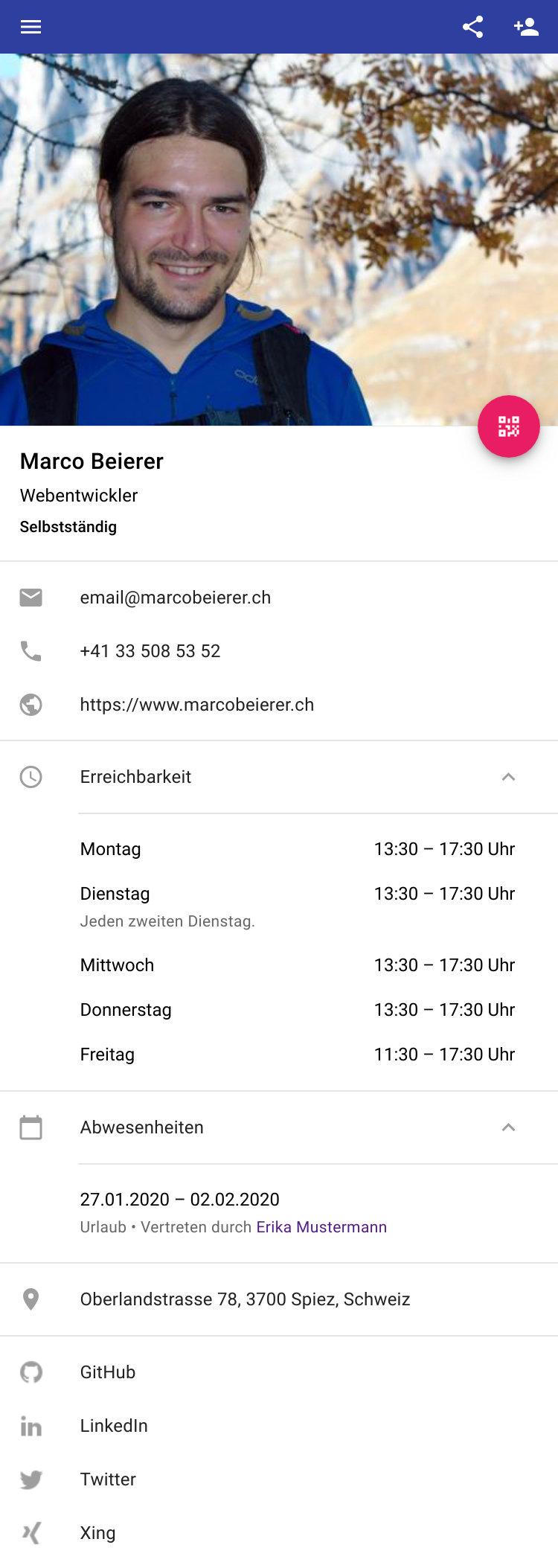 Digitale Visitenkarte Als Website Marco Beierer